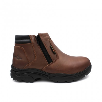 Safety Steel Toe Steel Plate Anti Slip Genuine Leather Boots - Brown MZHK13013