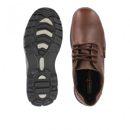 Safety Steel Toe Steel Plate Anti Slip Genuine Leather Shoes - Brown MZHK13012