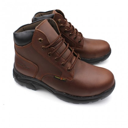 Safety Steel Toe Steel Plate Anti Slip Genuine Leather Boots - Brown MZHK13014