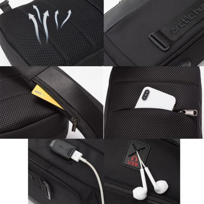 Men Casual Waterproof Crossbody USB Port Sling Bag - Black MZXB00100