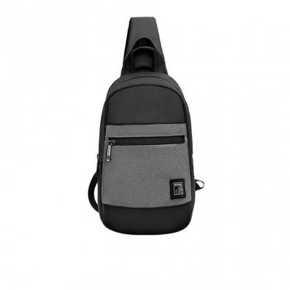 Men Casual Waterproof Crossbody Sling Bag - Dark Grey MZXB00060