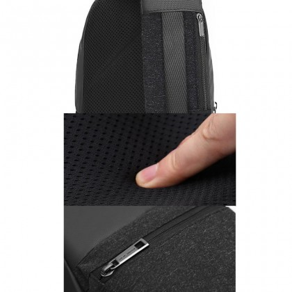 Men Casual Waterproof Crossbody Sling Bag - Light Grey MZXB00060