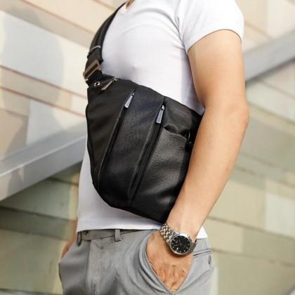 """Men Casual Waterproof Crossbody 9.7"""" Tablet Sling Bag - Black MZXB00041"""