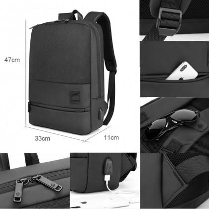 "Unisex Business Travel Waterproof USB Port 15.6"" Laptop Backpack - Grey MZB00360"