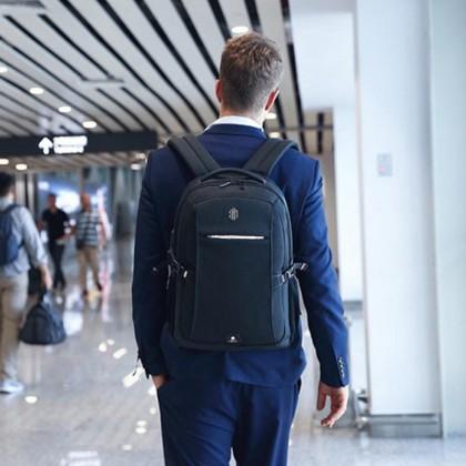 "Unisex Business Waterproof USB Port 15.6"" Laptop Backpack - Blue MZB00338"