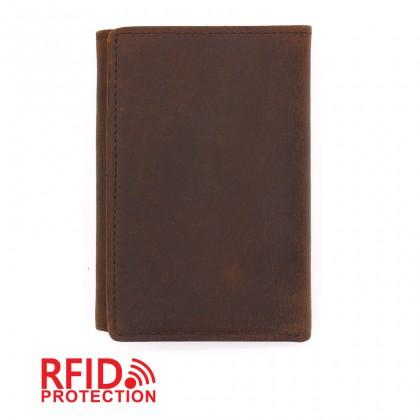 MIDZONE Trifold Genuine Leather Wallet RFID Blocking - Dark Brown MZWW2107-007