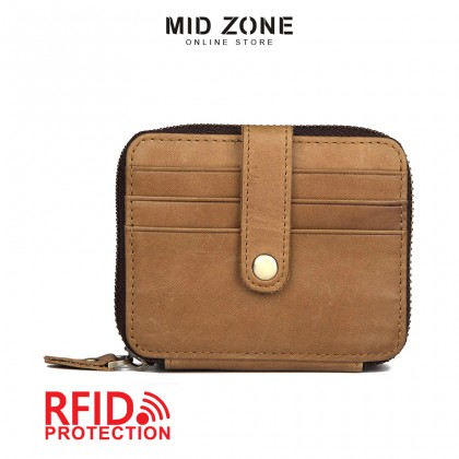 MIDZONE Unisex Genuine Leather Zipper Wallet - Whisky MZWW2107-012