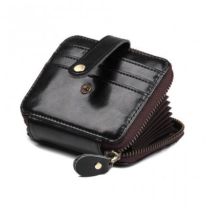 MIDZONE Unisex Genuine Leather RFID Protection Zipper Wallet - Black MZWW2107-016