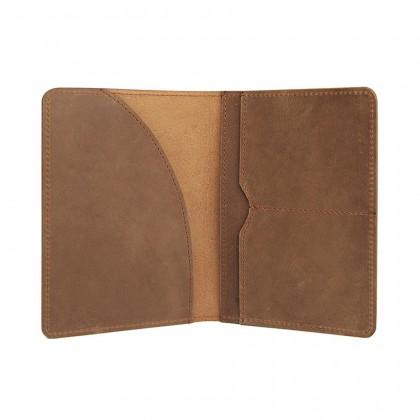 MIDZONE Unisex Elegant Bifold Genuine Leather Passport Holder Wallet - Brown MZWW2107-017