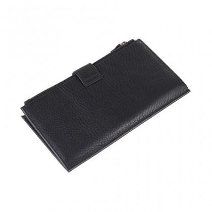 MIDZONE Unisex Bifold Genuine Grain Leather Large Wallet - Black MZWW2107-018