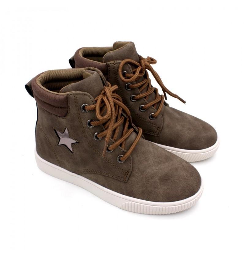 EXO SCORPION Boys High Cut Sneaker EX097C Khaki