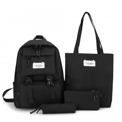 Girl Punk Black Canvas 4 in 1 Backpack Set - Black MZHB3904