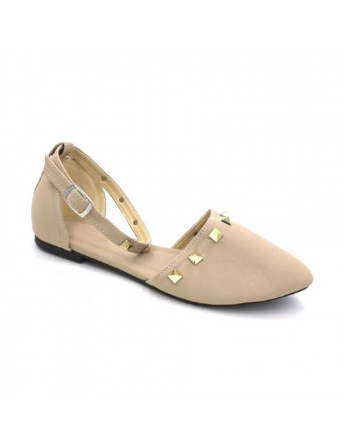MIDZONE Pointed Ankle Strap Flats MZ346 Beige