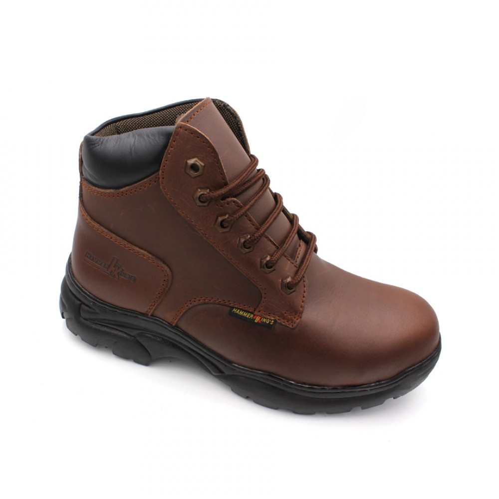 HAMMER KING Safety Genuine Leather Boots MZHK13014 Brown