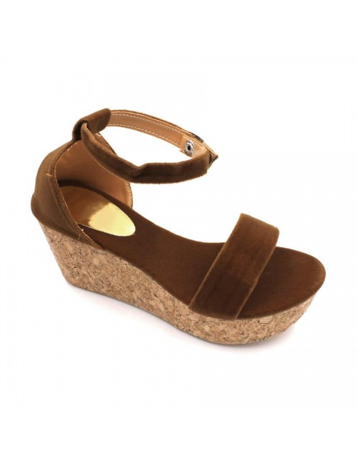 MIDZONE Lady Fashion Ankle Strap Wedges MZ332 Brown