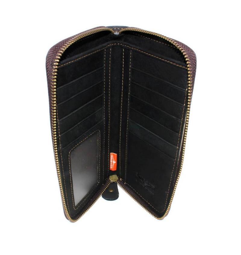 BULL RYDERS Genuine Leather Zipper Long Wallet BWFS-80376