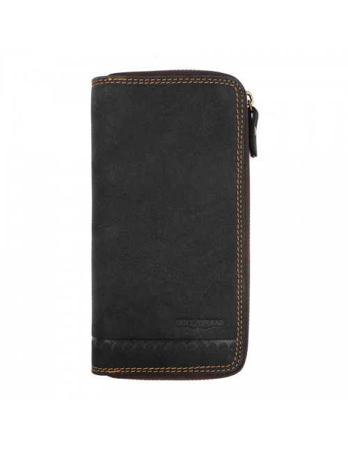 BULL RYDERS Genuine Leather Zipper Long Wallet BWFS-80376