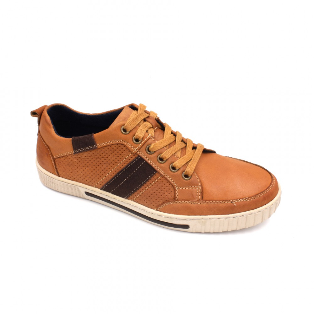 SCORPION Leather Lace Up Sneaker SC8206-1 Camel