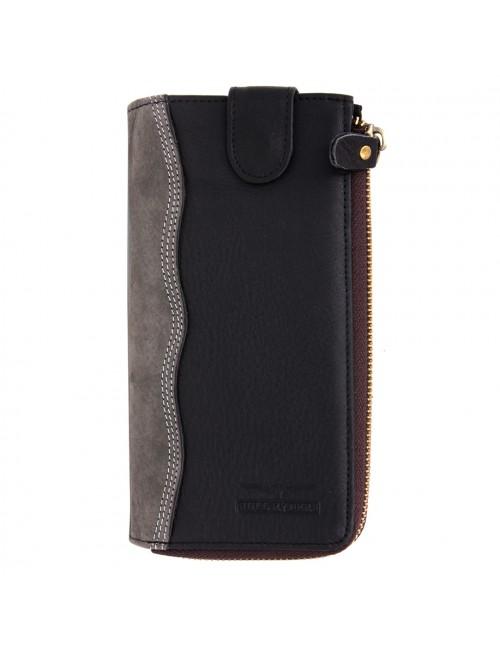 BULL RYDERS Genuine Leather Long Zipper Wallet BWDD-80081