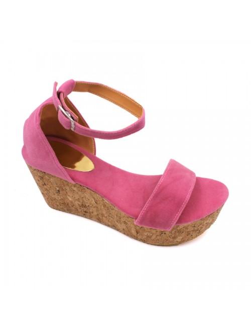MIDZONE Lady Fashion Ankle Strap Wedges MZ329 Pink