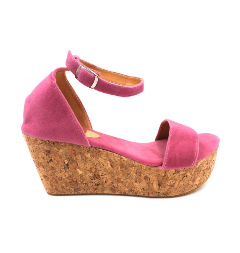 MIDZONE Lady Fashion Ankle Strap Wedges MZ329 Pink