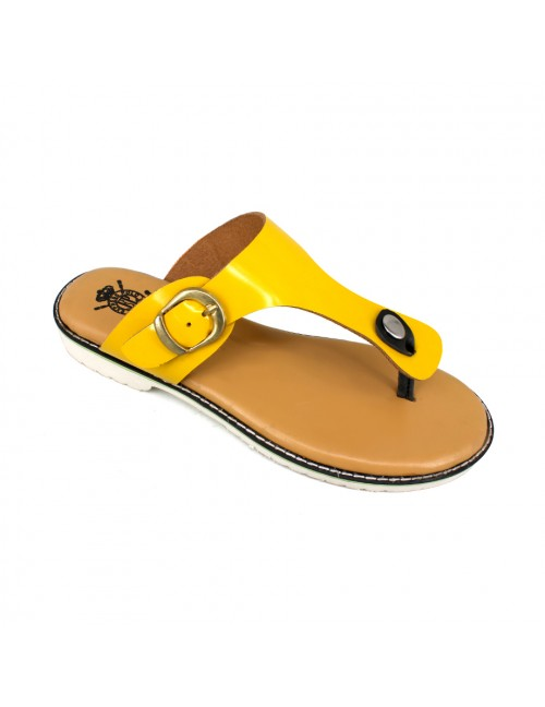 EXPRESS POLO Women Handmade Leather Sandals EH494 Yellow