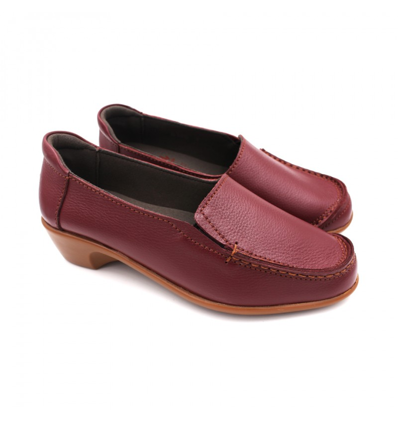 EXPRESS POLO Women Handmade Genuine Cow Leather  Loafer EHL100 Maroon