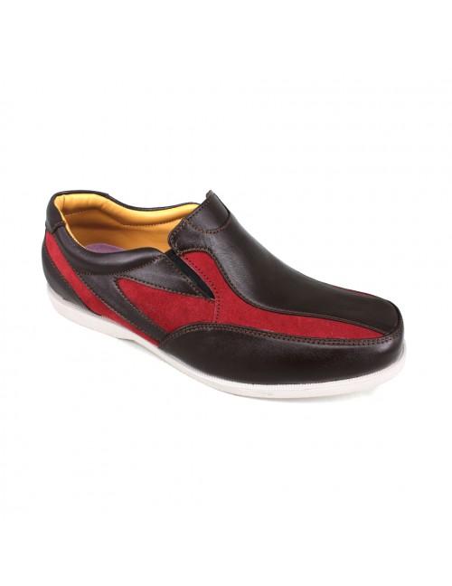 EAGLE HUNTER Men Handmade Genuine Cow Leather Sneaker EHH104 Maroon