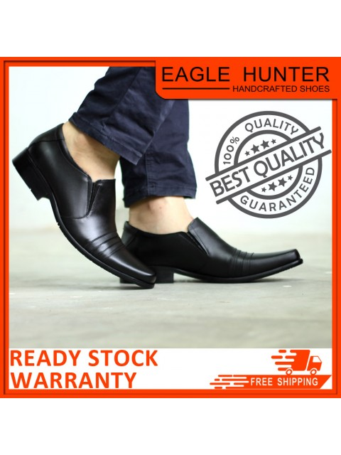 EAGLE HUNTER Men Handmade Cow Leather Formal EH90005-A Black