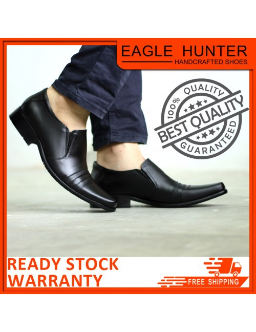 EAGLE HUNTER Men Handmade Cow Leather Formal EH90005-A Black