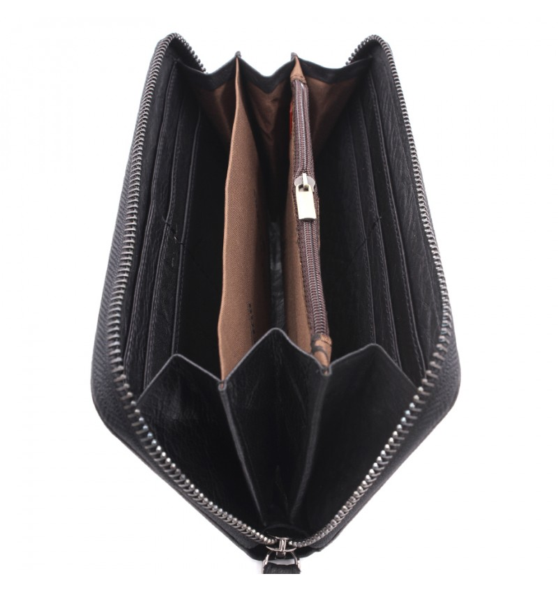 BULL RYDERS Genuine Cow Leather Long Zipper Wallet BWHE-80602
