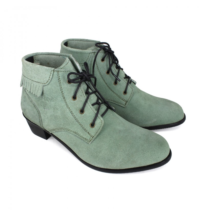 EAGLE HUNTER Women Handmade Genuine Cow Suede Leather Boots EHL90031 Green