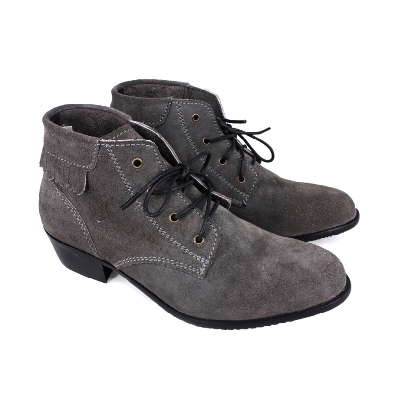 EAGLE HUNTER Women Handmade Genuine Cow Suede Leather Boots EHL90031 Grey