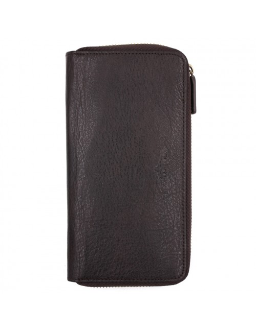 BULL RYDERS RFID Protection Genuine Cow Leather Long Zipper Wallet BWGP-80505