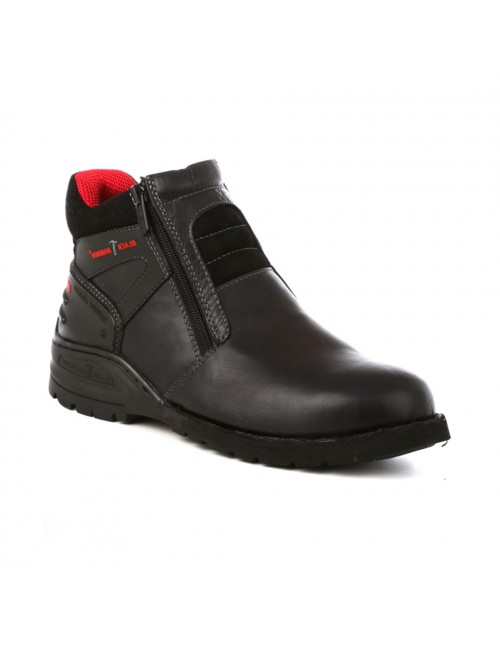 BLACK HAMMER Genuine Cow Leather Safety Boots BH5104 Black