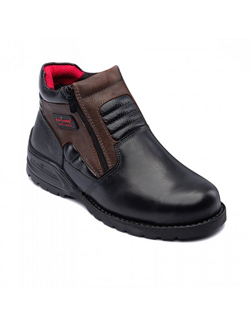 BLACK HAMMER Genuine Cow Leather Safety Boots BH5107 Black Coffee