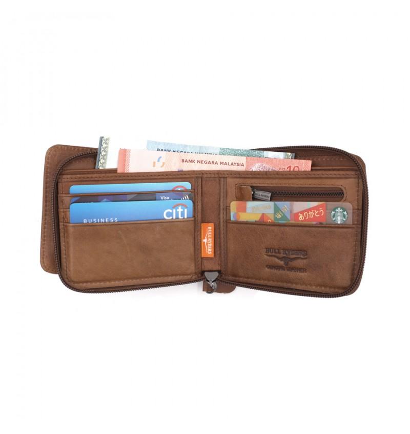 BULL RYDERS Genuine Cow Leather Zipper Wallet BWGS-80525