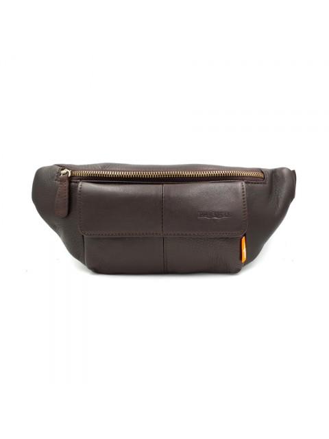 BULL RYDERS Genuine Cow Leather Waist Bag BR-88136 Dark Brown