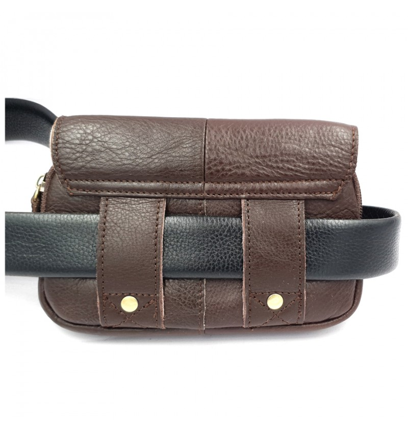 BULL RYDERS Genuine Cow Leather Belt Bag BR-88148 Dark Brown