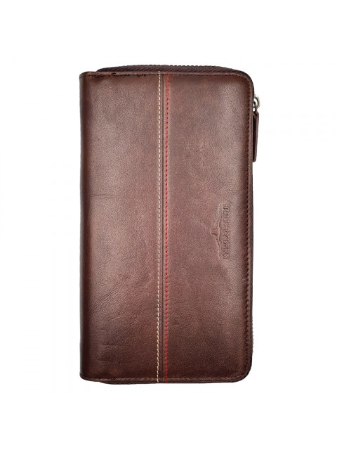 BULL RYDERS Genuine Cow Leather Zipper Long Wallet BWHB-80586 Dark Brown