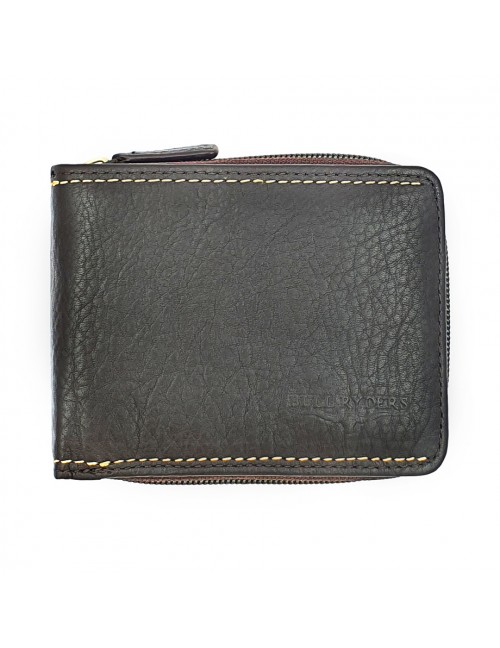 BULL RYDERS RFID Protection Genuine Cow Leather Zipper Wallet BWGX-80562