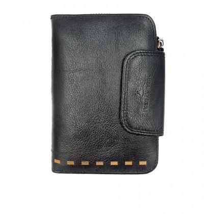 Bifold Leather Mens Large Zipper Long Wallet - Black BWHC-80590