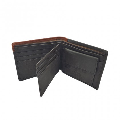 Bifold Leather Mens Wallet - Black BWHA-80577