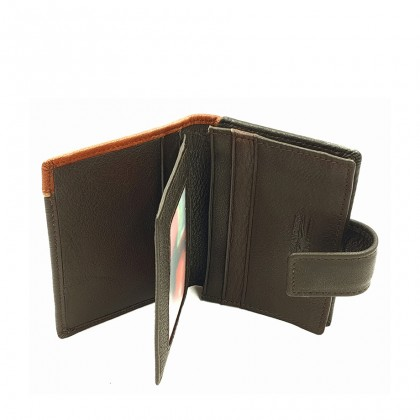 Bifold Leather Mens Minimalist Wallet - Brown BWHA-80575