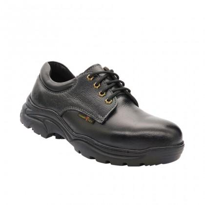 Safety Steel Toe Steel Plate Anti Slip Genuine Leather Shoes - Black MZHK13008
