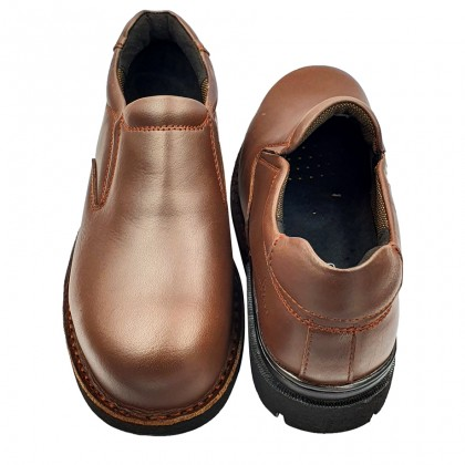 Safety Steel Toe Steel Plate Anti Slip Genuine Leather Shoes - Brown MZHK13001