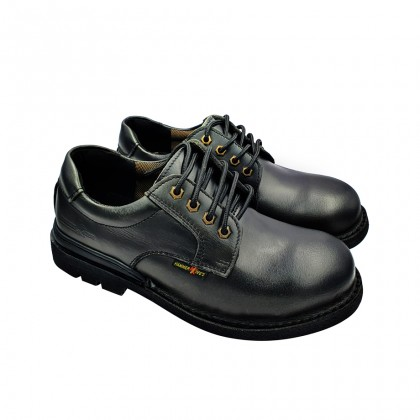 Safety Steel Toe Steel Plate Anti Slip Genuine Leather Shoes - Black MZHK13002