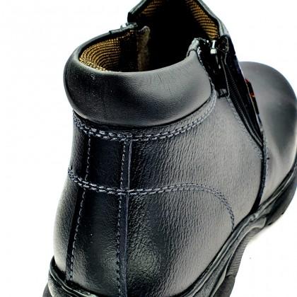 Safety Steel Toe Steel Plate Anti Slip Genuine Leather Boots - Black MZHK13009