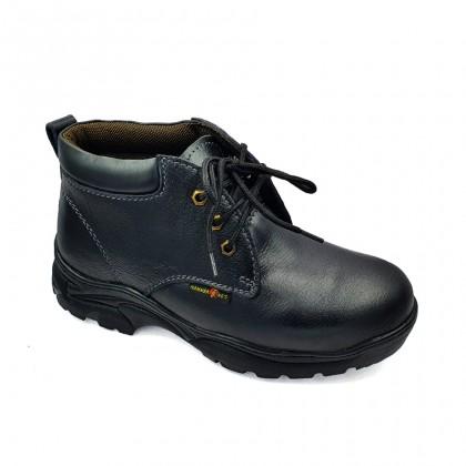 Safety Steel Toe Steel Plate Anti Slip Genuine Leather Boots - Black MZHK13010