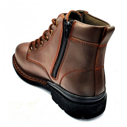 Safety Steel Toe Steel Plate Anti Slip Genuine Leather Boots - Brown MZHK13019